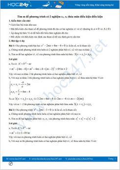 Chuyên đề Tìm m để phương trình có 2 nghiệm x1 x2 thỏa mãn điều kiện điều kiện Toán 9