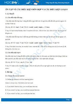 Ôn tập về câu điều kiện hỗn hợp và câu điều kiện loại 0