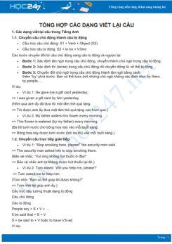 Tổng hợp các dạng viết lại câu