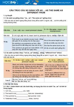 Cấu trúc câu so sánh với các từ so sánh đặc biệt