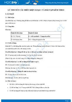 Lý thuyết câu điều kiện loại 1 và bài tập kèm theo