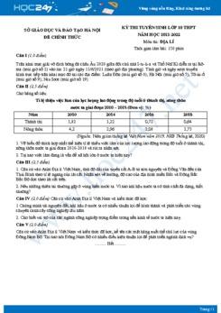 Đề thi tuyển sinh lớp 10 THPT môn Địa lí năm 2021 - Sở GD&ĐT Hà Nội