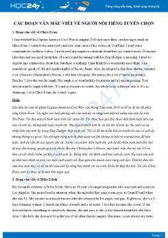 Các đoạn văn mẫu viết về người nổi tiếng tuyển chọn