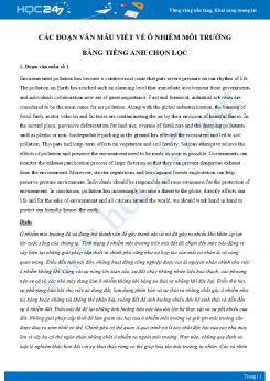 Các đoạn văn mẫu viết về ô nhiễm môi trường bằng Tiếng Anh chọn lọc