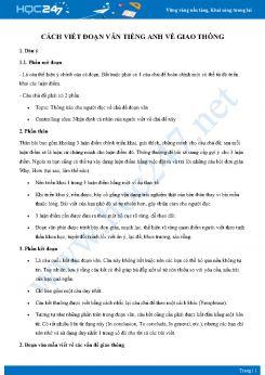 Cách viết đoạn văn Tiếng Anh về giao thông