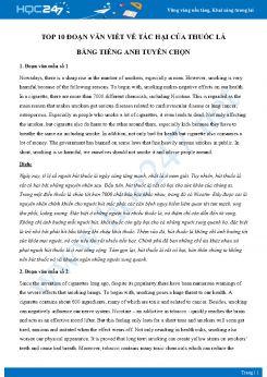 Top 10 đoạn văn viết về tác hại của thuốc lá bằng Tiếng Anh tuyển chọn