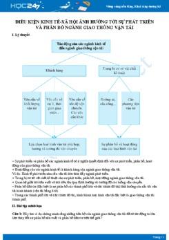 Lý thuyết Ảnh hưởng của các điều kiện kinh tế-xã hội tới ngành giao thông vận tải Địa lý 10