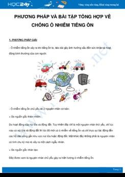 Phương pháp và bài tập tổng hợp về Chống ô nhiễm tiếng ồn môn Vật Lý 7 năm 2021