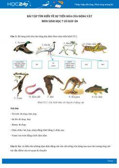 Bài tập tìm hiểu về sự tiến hóa của động vật môn Sinh học 7 có đáp án