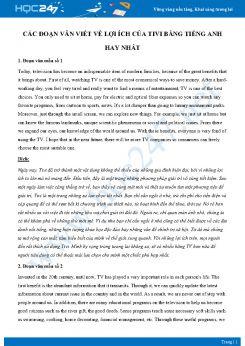 Các đoạn văn viết về lợi ích của Tivi bằng Tiếng Anh hay nhất