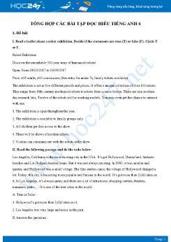 Tổng hợp các bài tập đọc hiểu Tiếng Anh 6 có đáp án