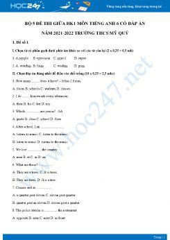 Bộ 5 đề thi giữa HK1 môn Tiếng Anh 6 Cánh diều có đáp án năm 2021-2022 Trường THCS Mỹ Quý